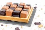 Tarte damier chocolat, café, praliné, noisette