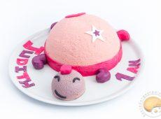Gâteau d'anniversaire tortue façon entremets amande / framboise